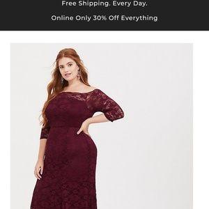 Long burgandy lace gown